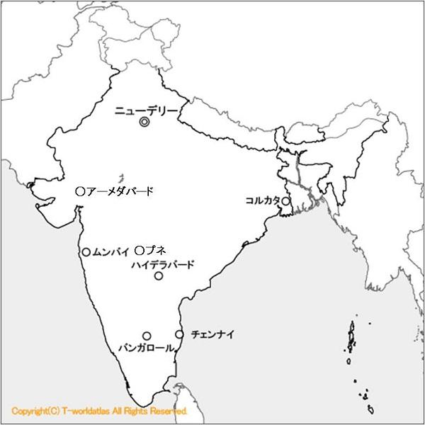 1415_インドTier1都市_地図